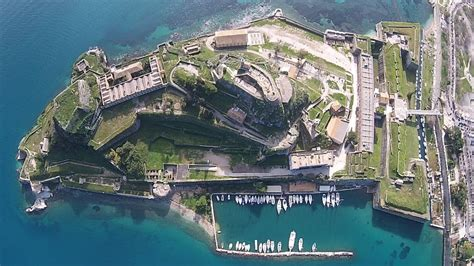 fortress corfu aerial view youtube