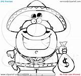 Money Coloring Bag Pages Cartoon Bandit Clipart Colouring Hispanic Holding Outlined Vector Thoman Cory Print Tea Template sketch template