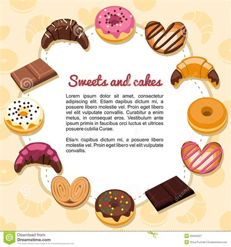 sweets  cakes forming  frame stock vector