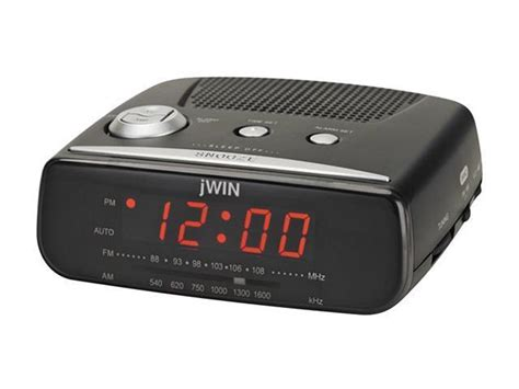 Jwin Compact Digital Alarm Clock With Am/fm Radio, Black