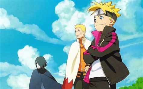 Обои Боруто, Саске и Наруто на фоне неба из аниме Боруто