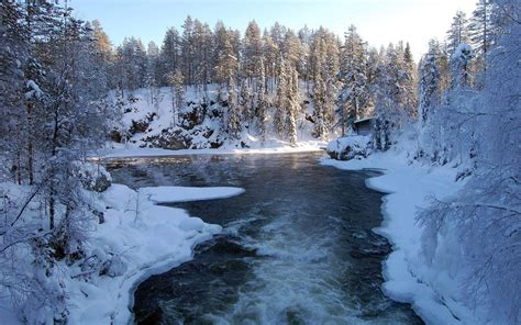Hd Winter Photo by Hd Speeding River In The Winter Wallpaper Free