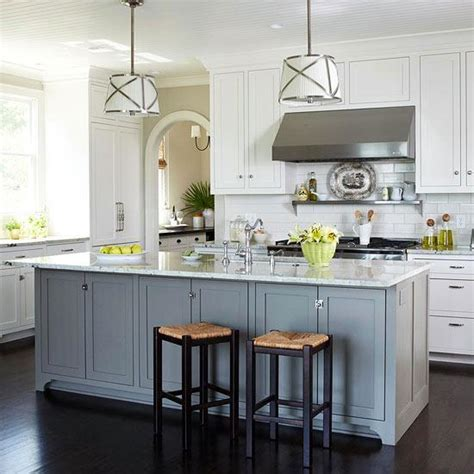 white kitchen cabinets with different color island finishing touches new york interior design benatar 2209