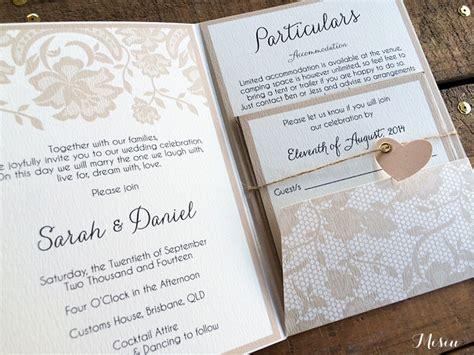 Lace Pocket Fold Wedding Invitations