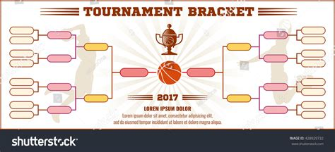basketball tournament bracket vector mockup infographic