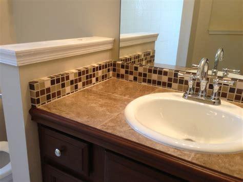 tile countertop  backsplash traditional bathroom