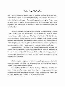Essay On Good Health Amy Tan Mother Tongue Claimants Video Game Addiction Essay Essays On Importance Of English also Essay Thesis Examples Amy Tan Mother Tongue Essay Report Example Amy Tan Mother Tongue  Thesis Statement For Argumentative Essay