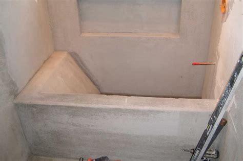 custom built tub during construction stocker tile