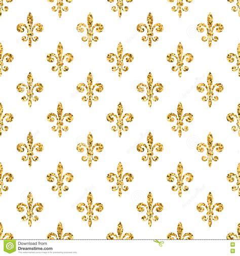 Golden Fleur De Lis Seamless Pattern White 1 Stock Vector