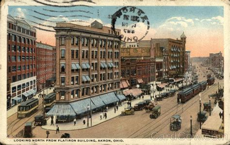 L Post Akron Ohio by Looking From Flatiron Building Akron Oh Postcard