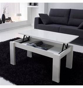 table basse relevable blanche rectangulaire mobilier