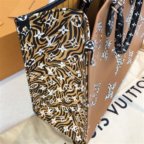 louis vuitton jungle print    onthego bag black  orange handbagholic