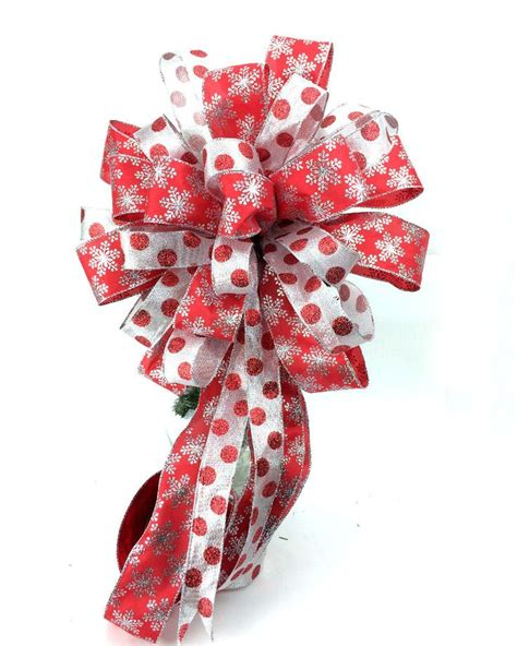 christmas tree toppers bows tree topper bow in red and silver with 6 feet streamers by southerncharmwreaths com place your