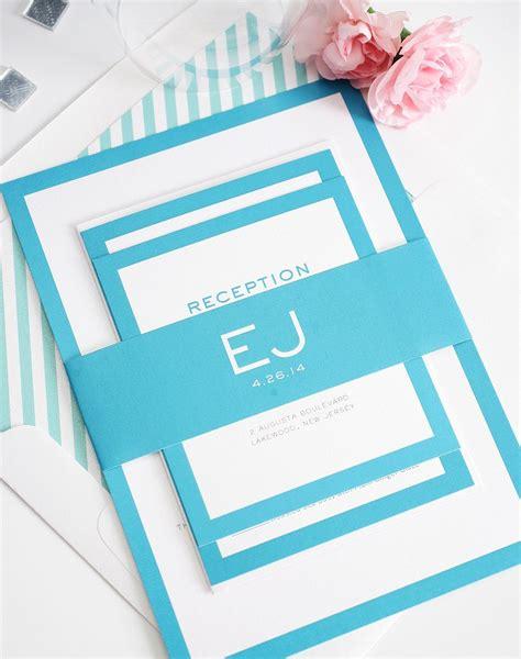 Modern Wedding Invitations in Pool Blue Wedding Invitations