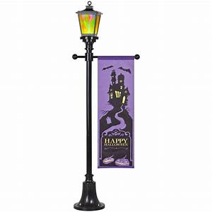 gemmy fire and ice victorian lamp post with banner outdoor With lamp post light indoor