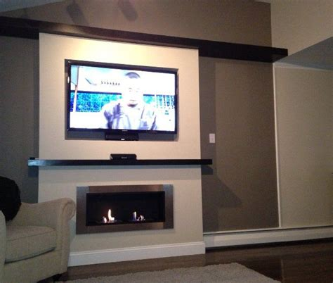 lata ventless fireplace recessed  tv warm