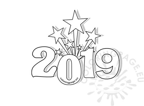 Printable New Years Coloring Page 2019