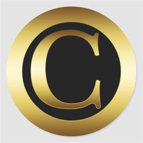 gold monogram letter  classic  sticker zazzlecom