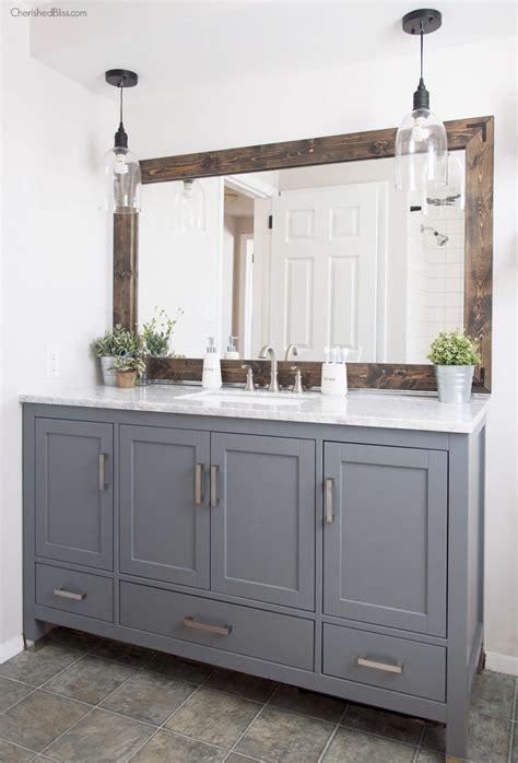 Industrial Bathroom Mirror by Industrial Farmhouse Bathroom Reveal Cherished Bliss
