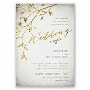 leaves of gold invitation invitations by dawn With wedding invitations with gold wording