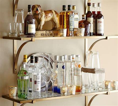 brass shelf pottery barn booze  shelves  dog