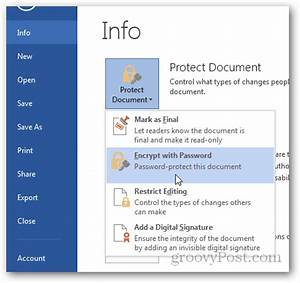how to password protect and encrypt office 2013 documents With is documents a word