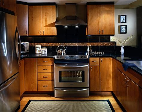 Condo kitchen with Asian feel. Slab maple cabinet doors