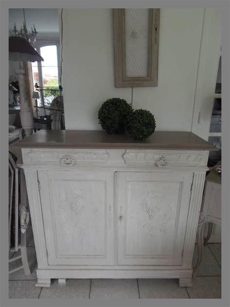 le de bureau ancienne meuble buffet patiné gris perle blanc poudré plateau et