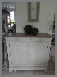 meuble buffet patine gris perle blanc poudre plateau et With rajeunir un meuble ancien