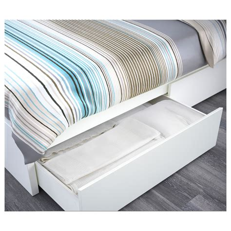 ikea king size bed malm bed frame with 4 storage boxes white luröy standard