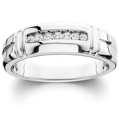 1 4ct channel ring 14k white gold mens wedding band ebay