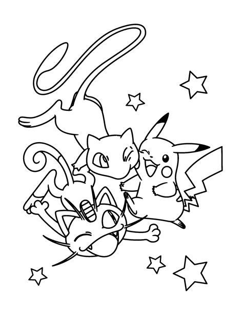Kleurplaat Mew by Paradijs Kleurplaat Mew Pikachu En Meowth