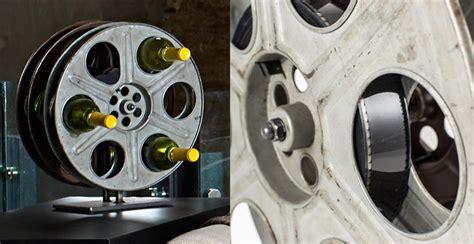 vintage film reel wine rack  green head