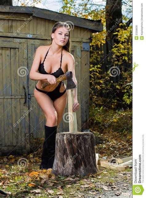 woman chopping wood lumberjack royalty  stock images