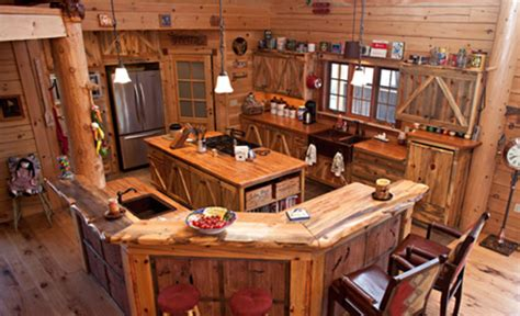 amish kitchen islands 16 amazing log house kitchens you to see hick country