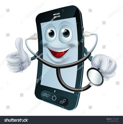 the phone doctor illustration phone doctor character holding stock
