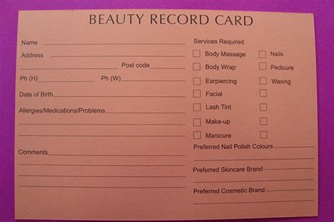 client record card beauty template beauty record cards pack of 50 beauty nails