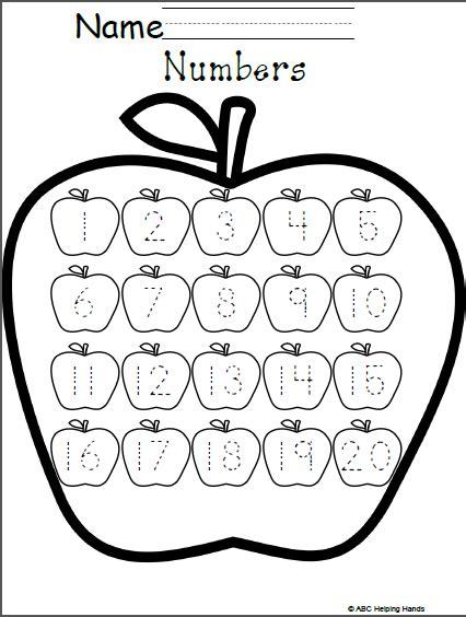 Free Numbers Worksheet  Editable Apples Theme Madebyteachers