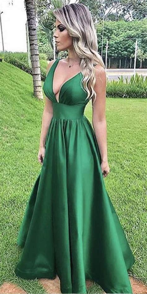 Simple Deep V-Neck Dark Green Prom Dress 2019 Custom Made ...