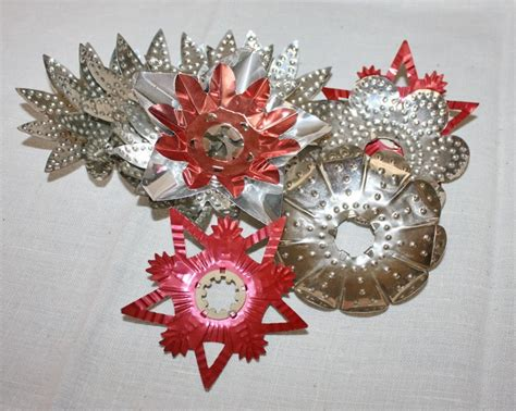 antique christmas light reflectors punched tin metal lot