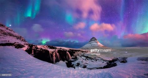 Panoramic View Of Kirkjufell Mountain With Aurora High Res