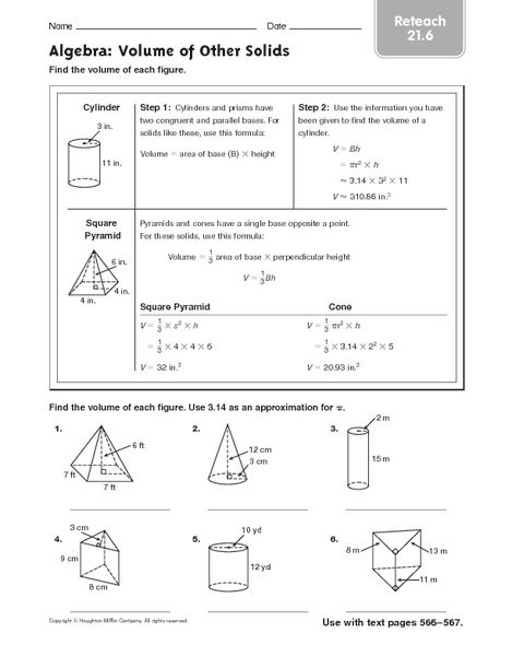 algebra volume of other solids reteach 21 6 worksheet for 5th 6th grade lesson planet