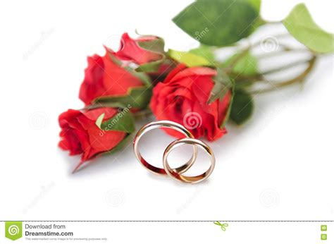 the wedding rings and flowers isolated white background stock image image 74369515
