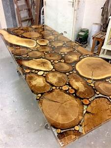 Resine Epoxy Pour Table : sliced oak table top in resin epoxy treepoxy oak in 2019 wood furniture epoxy resin wood ~ Farleysfitness.com Idées de Décoration