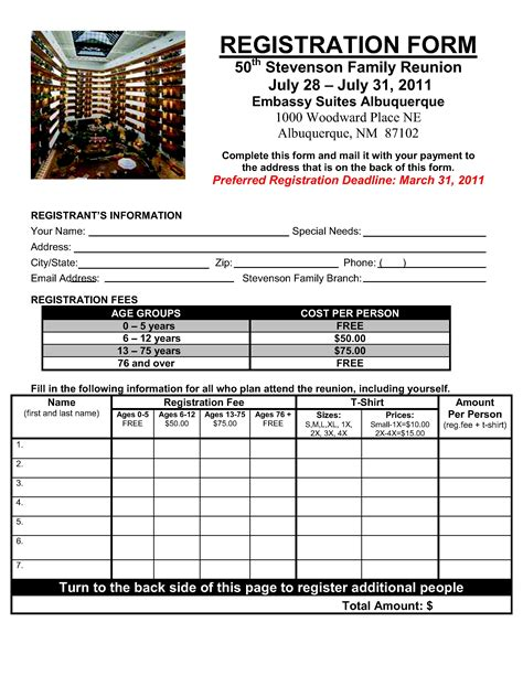 T shirt family reunion registration form pronofoot35fo Image collections