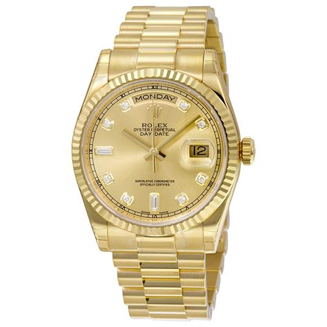Rolex Day-Date Champagne Dial 18K Yellow Gold President ...