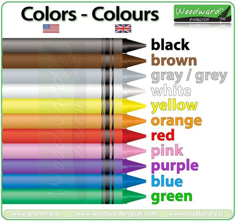 spelling of color gray colors in colours in