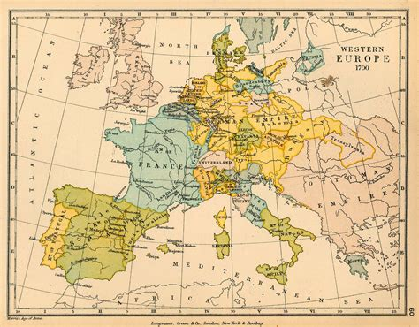 Europe Occidentale Carte by Schools Historical Atlas By C Colbeck Perry