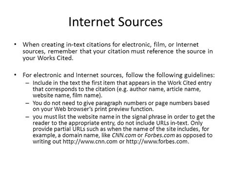 Work Cited Page Example For Internet