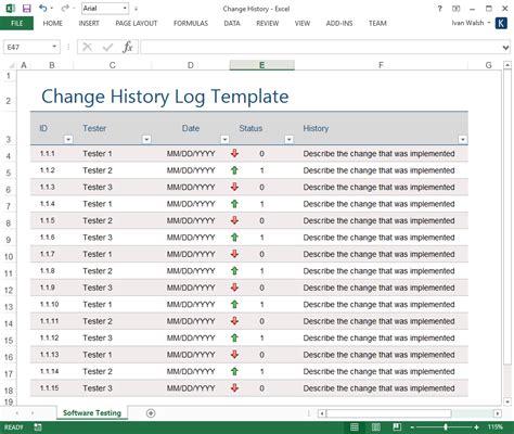 change log change history log template ms excel software testing template